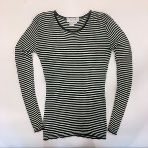 Out of the Blue Stripe Silk Sweater Black White
